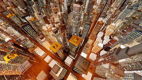 Sundown in the Big City. Generic urban architecture and skyscrapers forming a huge city at night. 3D rendered Illustration Royalty Free Stock Images