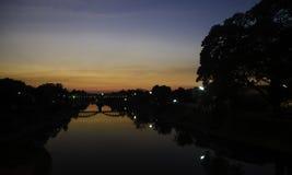 Sundown bridge. Free your soul on bridge Royalty Free Stock Photos