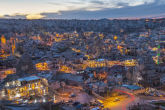 Sundown in Capadocia. Turkey. View of the town of Goreme in the sunset Royalty Free Stock Photos