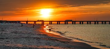 Sundown at the Beach Stock Photography