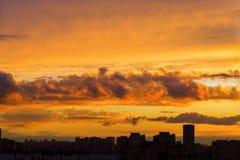 Sundown city silhouette Stock Photo