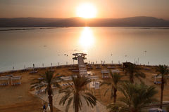 Sundown at The Dead Sea. The Dead Sea is second saltiest body of Royalty Free Stock Photos