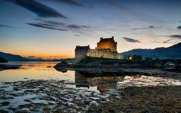 Sundown at Eilean Donan Castle Royalty Free Stock Photo