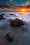 Sundown at El Pescador. An exposure blend using two exposures. One for the foreground the other for the background. Taken at El Pescador State Beach in Malibu Royalty Free Stock Images