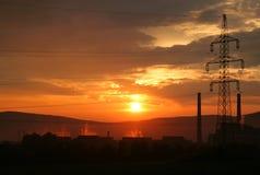 sundown för strömstation Royaltyfria Foton