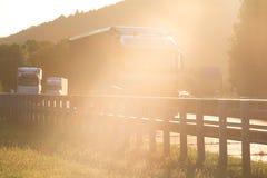 Sundown on german highway Royalty Free Stock Image