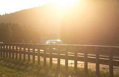 Sundown on german highway Royalty Free Stock Images