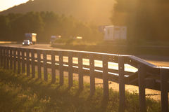 Sundown on german highway Royalty Free Stock Image