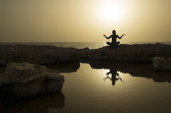 Sundown is good time for meditation Royalty Free Stock Image