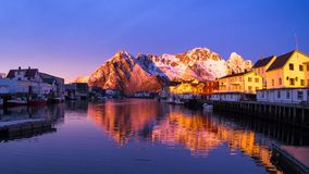 Sundown in Haeningsvaer in a timelapse Royalty Free Stock Images