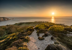 Sundown at Headon Warren, Isle of Wight. Headon Warren, Totland, Isle of Wight at Sundown, looking out over The Needles Royalty Free Stock Photo