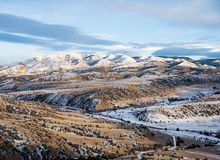Sundown on Horseshoes Hills in the Wintertime. Evening landscape of eastern Montana hill country in the wintertime Stock Photo
