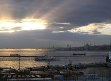 Sundown i Istanbul Royaltyfri Fotografi