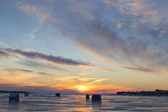 Sundown Ice Fishing Royalty Free Stock Photo