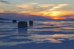 Sundown Ice Fishing Stock Images