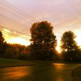 Sundown at an Intersection Royalty Free Stock Photos