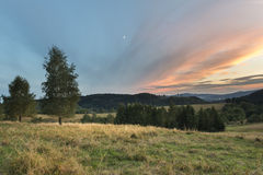Sundown landscape in Sudety mountains Royalty Free Stock Image