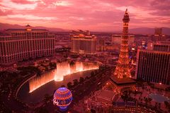 Sundown in las vegas. The sun goes down over the Strip in Las Vegas stock image