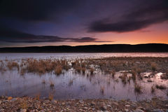 Sundown and last light  over Penrith Lakes Stock Photos