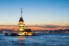 Sundown at maiden tower, istanbul Royalty Free Stock Photos