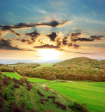 Sundown in mountain Royalty Free Stock Photography