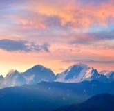 Sundown in mountain Stock Images