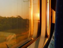 Sundown. Observed from the train royalty free stock images