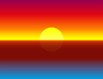 Sundown Ocean Gradient Background Illustration. Illustration of a colorful, luminous, glowing, gorgeous ocean sunset - gradient vector background Royalty Free Stock Photography