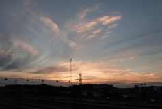 Sundown. In Odense by the railway station Royalty Free Stock Photo