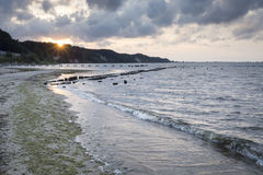Sundown over Baltic sea in Gdynia Stock Photos