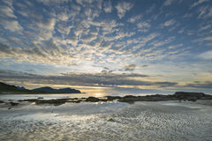 Sundown over a beach on Lofoten Archipelago Stock Photography