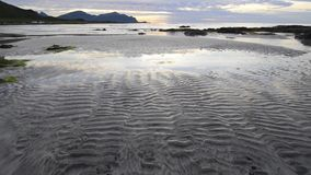 Sundown over a beach on Lofoten Archipelago stock footage