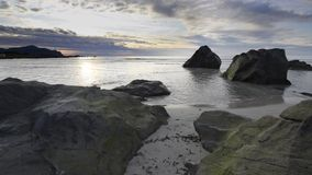 Sundown over a beach on Lofoten Archipelago stock video footage