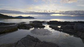 Sundown over a beach on Lofoten Archipelago stock video