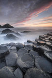 Sundown over The Giants Causeway, North Ireland Stock Photography