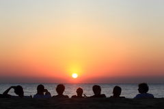 Sunset. Friends enjoying a sundown over Agonda Beach Goa India Royalty Free Stock Photo