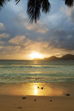 Sundown over indian ocean. Anse Takamaka Royalty Free Stock Photography