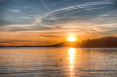 Sundown over an lake Royalty Free Stock Images
