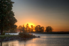Sundown over an lake Royalty Free Stock Image