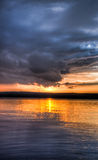 Sundown over an lake Stock Photography
