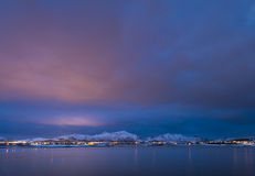 Sundown over Lofoten Islands Stock Image