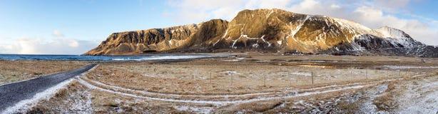Sundown over Lofoten Islands panorama, Royalty Free Stock Image