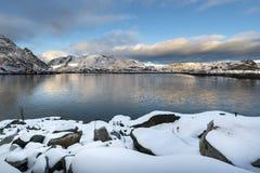 Sundown over Lofoten islands during winter time Stock Images