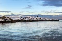 Sundown over Lofoten islands during winter time Royalty Free Stock Photos