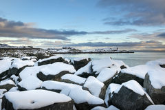 Sundown over Lofoten islands during winter time Stock Image