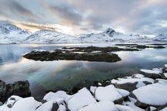 Sundown over Lofoten islands during winter time Stock Photo