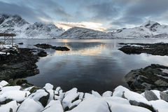 Sundown over Lofoten islands during winter time Royalty Free Stock Photography