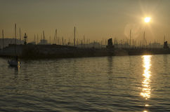 Sundown over the marina of Rimini Stock Photos