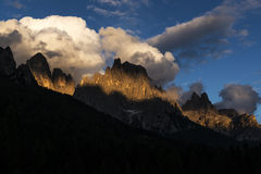 Sundown over Pale di St.Martino, Dolomites Royalty Free Stock Photo
