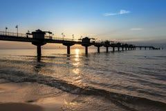 Sundown over pier in Miedzyzdroje, Poland Stock Photos